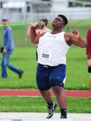 Chambersburg's Myles Braxton throws the shot put on Saturday at the Mid Penn Conference Championships. Braxton placed third in the shot put and seventh in the discus.