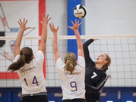 In this file photo from 2016, Jenny Shellabarger goes in for the attack during the Class A Semi-State Saturday at Caston High School. Dalevillle lost to the Fort Wayne Blackhawk 3-0.