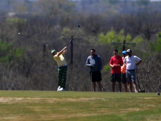 Former Wylie star Case Keenum drives long on a hole at Diamondback Golf Club Friday during the Big Country Fellowship of Christian Athletes Golf Tournament. The charity event benefitted FCA's summer camp scholarship. After leading the Minnesota Vikings to the NFC championship game, Keenum signed with the Denver Broncos in the off-season.