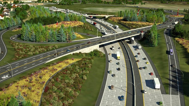 An artistic rendering of the east end of the Herb Gray Parkway, showing the Howard Avenue Bridge.