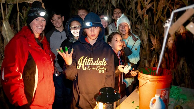 """A group of students found that clues can be a bit slimy during last year's """"Murder Mystery Corn Maze."""""""
