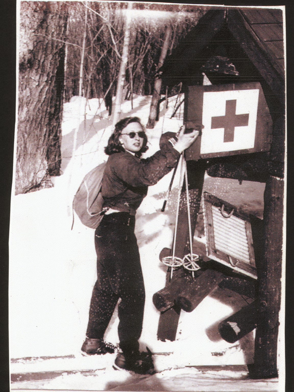 Circa 1944 photo of ski patroller Betty Ware at a first