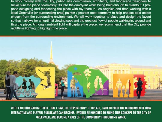 Rendering of public art proposed by artist Michael