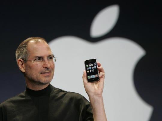 In this Jan. 9, 2007 file photo, Apple CEO Steve Jobs