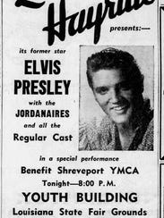 An ad in a 1956 Shreveport Times promoting an appearance