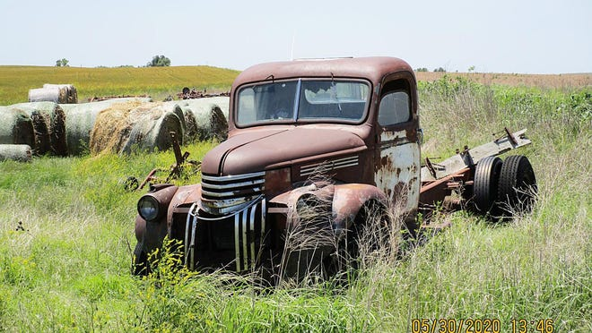 BARBER COUNTY--An old farm truck sits near the intersection of Julian Road and Lasswell Road in Barber County, keeping watch on the changing seasons, as it has for many years. Barber County, in south-central Kansas, along with Kiowa and Comanche counties is a place where wheat is grown, cattle graze, and scenic travel routes offer natural vistas in the Gypsum Hills just north of the Oklahoma state line.