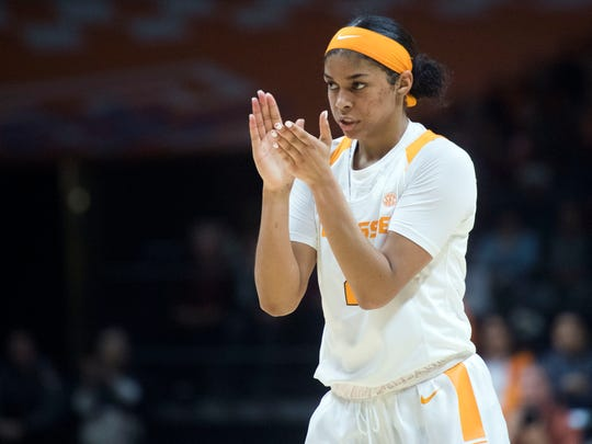 Tennessee's Evina Westbrook claps in celebration after