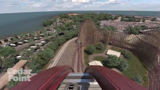 A front-seat view of Cedar Point's new roller coaster Steel Vengeance.