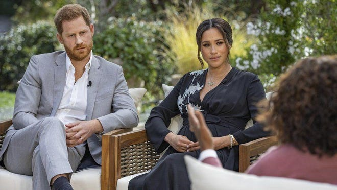 Prince Harry and Duchess Meghan were interviewed by Oprah Winfrey on Sunday