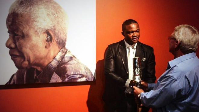 Luvuyo Mandela, 28, is the great-grandson of the late Nelson Mandela, who will be honored Saturday by the National Underground Railroad Freedom Center.