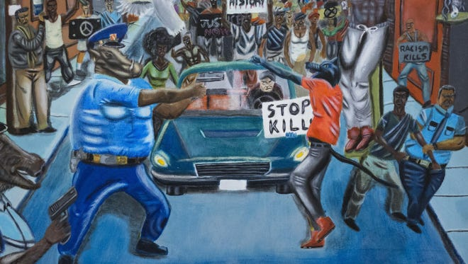 A painting by David Pulphus hangs in a hallway displaying paintings by high school students selected by their member of Congress on Capitol Hill in Washington. Rep. Duncan Hunter, R-Calif., has removed a painting that showed a pig in a police uniform. Joe Kasper, a spokesman for Hunter, said the lawmaker unscrewed the artwork from the display and returned it to the office of Missouri Democratic Rep. William Lacy Clay.