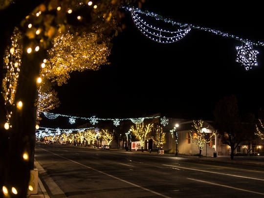 Holiday lights shine on display at Main Street Park in Cedar City on Nov. 19, 2018.