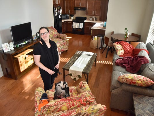disabled woman happy in her new housing