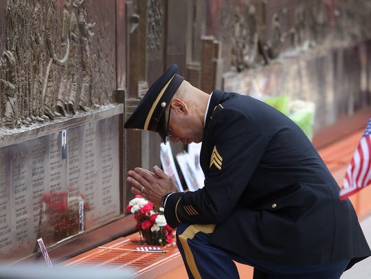 Army Reserve Sgt. Edwin Morales of Brooklyn on Monday