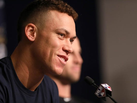 Aaron Judge is shown at a press conference at Yankee