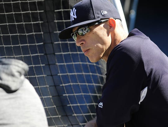 Joe Girardi is shown at the press conference, Monday,