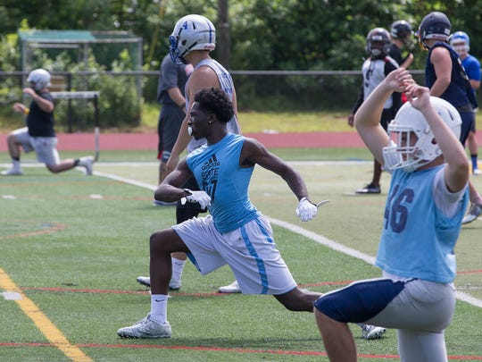 Asbury Park's Paul Reed during Monmouth football team practice at St. John Vianney on June 24, 2017 for  All Star Football game