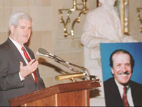 House Speaker Newt Gingrich spoke at the memorial service for Sonny Bono in Statuary Hall in the Capitol in Washington, D.C.