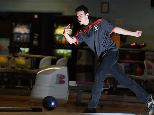 Dumont's Kyle Schellberg at Bowler City on March 15,
