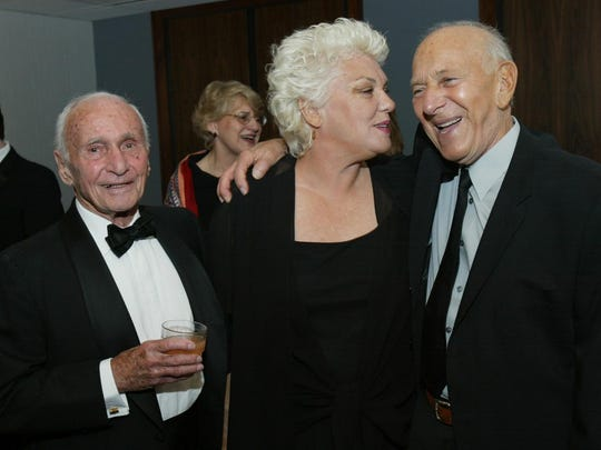 Arthur Laurents (left) in 2008, with Tyne Daly and
