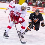 "Cornell forward Christian Hilbrich., pictured last season against Princeton, said on Friday of his Big Red that ""we hate losing more than we love winning."""