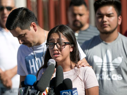 Jacqueline Rayos Garcia, 14, the daughter of Guadalupe
