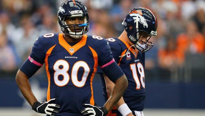 Broncos QB Peyton Manning needs better blocking from teammates like TE Julius Thomas (80).