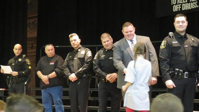Boonton Township's DARE program turned 25 on April 14 with a school program to praise students for making good choices. Retired Patrolman Thomas Cacciabeve, who started the program in 1991 was present, as was his son, Sgt. Thomas Cacciabeve, the current DARE educator.