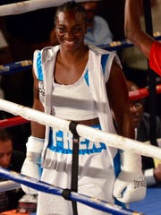 Claressa Shields at her fight against Sydney LeBlanc