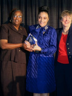 The 2015 Virginia K. Shehee Most Influential Woman Sandra Ratliff,  the  2016 honoree Renee Ellis and Nell Shehee at the luncheon.