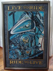 Mike Stiers' painting of a 78 Shovelhead Harley Davidson engine.