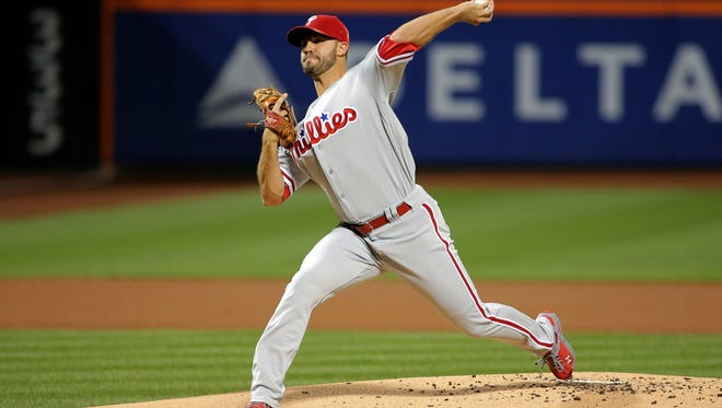 Philadelphia Phillies starting pitcher Adam Morgan pitches against the New York Mets during the first inning Thursday at Citi Field. Morgan's improvement has helped add to the Phillies' organizational starting pitching depth.