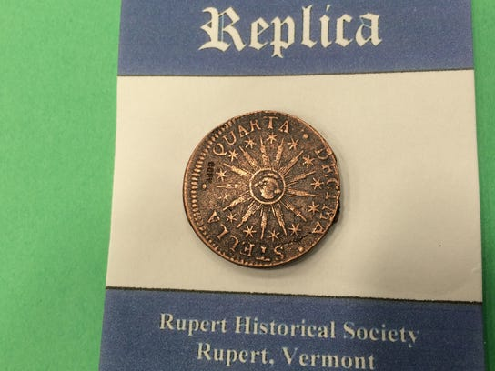 A Vermont coin from 1785, reproduced by the Rupert