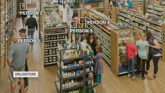 An image from the product page of Amazon's Rekognition service, which provides image and video facial and item recognition and analysis.