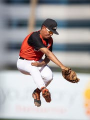 Junior first baseman Bryan Webb (6) of the Corona del Sol Aztecs catches an out at first during the 6A state playoffs against the Desert Vista Thunder at Tempe Diablo Stadium on Tuesday, April 30, 2019 in Tempe, Arizona.