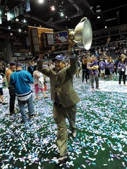 Rochester Knighthawks owner and general manager Curt Styres carries the Champion's Cup after the Knighthawks defeated Calgary on May 31, 2014 to win the National Lacrosse League Championship. Styres wrote a letter to fans on Thursday morning saying that the 2018-19 season would be his last as owner of the Knighthawks.