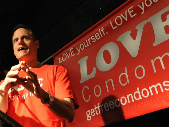 "Michael Weinstein speaks at the launch of the launch of the ""Love Condoms"" campaign to combat the spread of AIDS, at the House of Blues in Los Angeles on August 12, 2009."