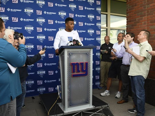 New York Giants rookie runningback Saquon Barkley speaks