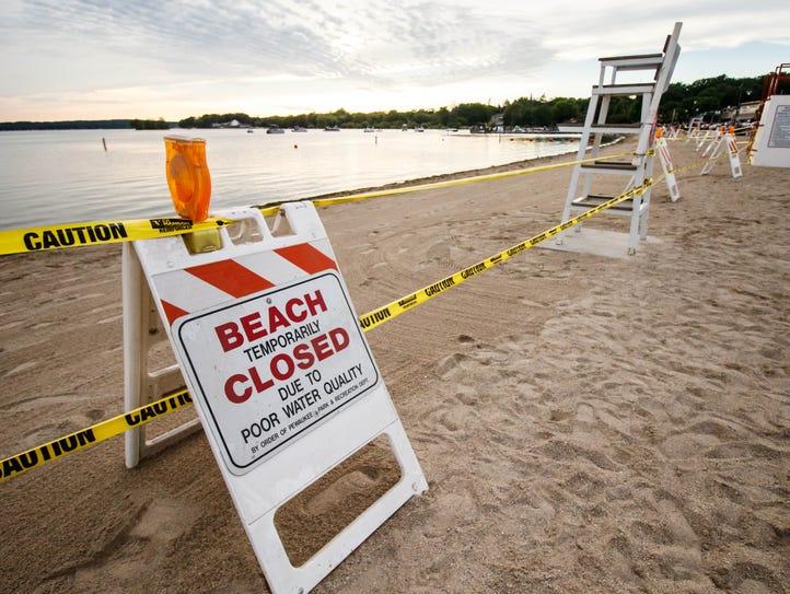 Pewaukee Beach was closed on Wednesday, June 21, 2017,