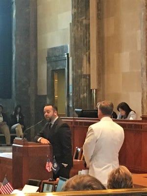 Sen. JP Morrell (left) and Sen. Barrow Peacock spar over amendments to Morrell's bill tax reform bill in the floor of the Senate Monday.