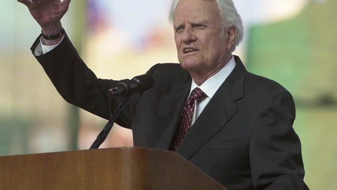 Reverend Billy Graham gives his sermon at the Greater Cincinnati Northern Kentucky Billy Graham Mission held at Paul Brown Stadium Friday June 28, 2002.