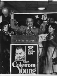 Detroit Mayor Coleman Young celebrates a November 1973