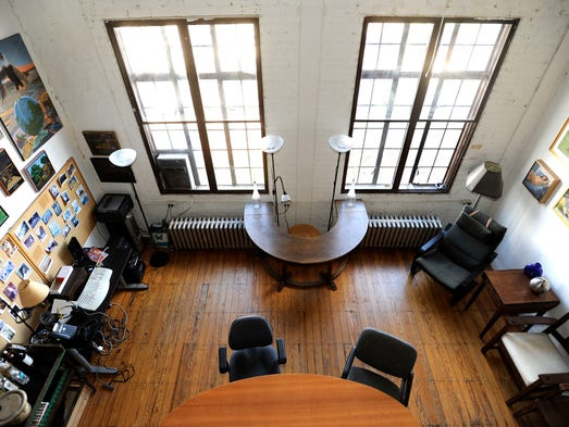 This is a balcony view of Duncan Campbell's third-floor
