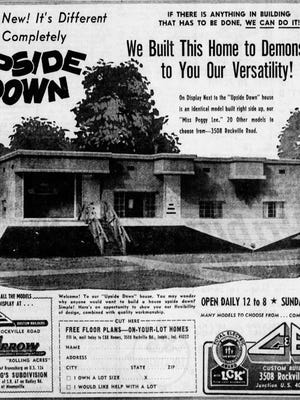 C&B Builders ad in the Indianapolis Star for their upside down house on Rockville Rd in 1965.