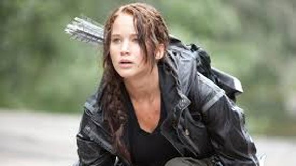 "Actress Jennifer Lawrence in ""The Hunger Games."""