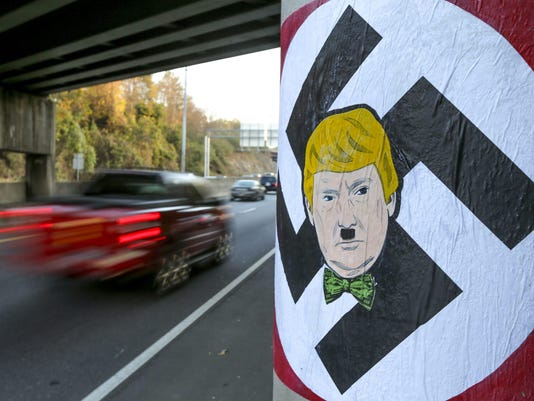 Trump's likeness painted with Hitler mustache and swastika in Atlanta