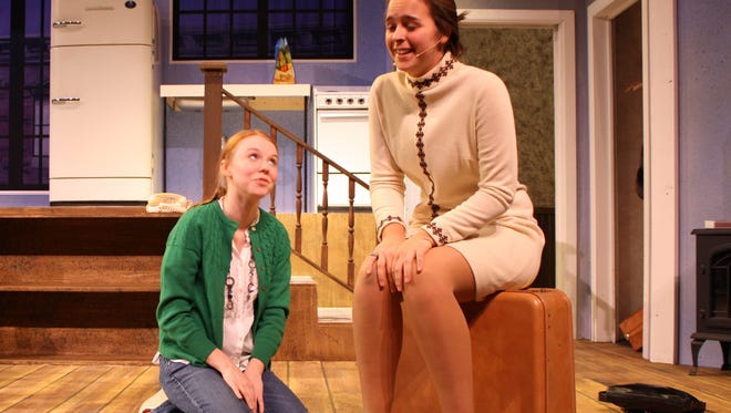 """Angel Parisot, left, as Corie Bratter and Allie Westbrook as Mrs. Banks in a scene from the Serling Players' production of Neil Simon's """"Barefoot in the Park."""""""