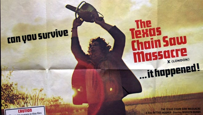 """The movie poster for the 1974 horror classic """"The Texas Chain Saw Massacre"""" shows Leatherface, the psychotic, chainsaw-wielding killer, played by Gunnar Hansen, in this undated photo."""