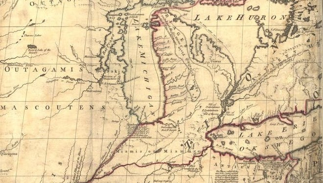 A section of the Mitchell Map, the most comprehensive map of North America made in the 18th century and important in resolving border disputes into the 20th century.