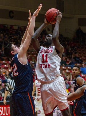 SUU's Will Joyce attempts a shot in the game against UTSA, Saturday, Nov. 21, 2015.